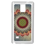 Folk Art Lotus Mandala Dirty Blue Red Samsung Galaxy Note 4 Case (White) Front