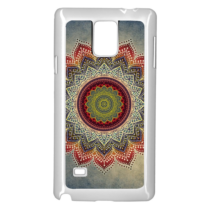 Folk Art Lotus Mandala Dirty Blue Red Samsung Galaxy Note 4 Case (White)