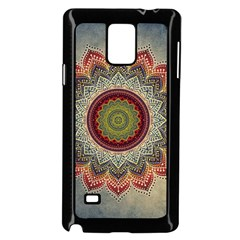 Folk Art Lotus Mandala Dirty Blue Red Samsung Galaxy Note 4 Case (black)