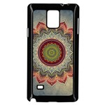 Folk Art Lotus Mandala Dirty Blue Red Samsung Galaxy Note 4 Case (Black) Front