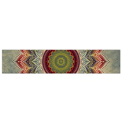 Folk Art Lotus Mandala Dirty Blue Red Flano Scarf (small)