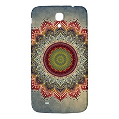 Folk Art Lotus Mandala Dirty Blue Red Samsung Galaxy Mega I9200 Hardshell Back Case