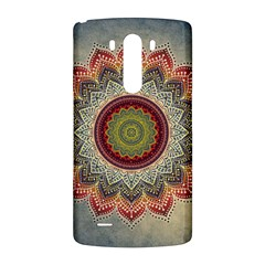 Folk Art Lotus Mandala Dirty Blue Red LG G3 Back Case