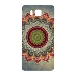 Folk Art Lotus Mandala Dirty Blue Red Samsung Galaxy Alpha Hardshell Back Case Front