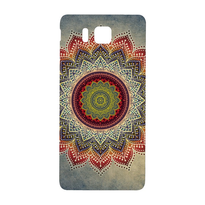 Folk Art Lotus Mandala Dirty Blue Red Samsung Galaxy Alpha Hardshell Back Case