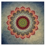Folk Art Lotus Mandala Dirty Blue Red Large Satin Scarf (Square) Front