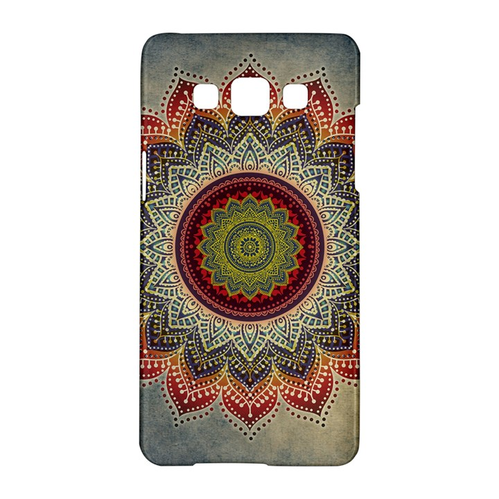 Folk Art Lotus Mandala Dirty Blue Red Samsung Galaxy A5 Hardshell Case