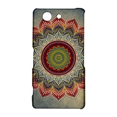 Folk Art Lotus Mandala Dirty Blue Red Sony Xperia Z3 Compact
