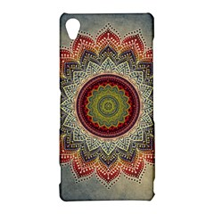 Folk Art Lotus Mandala Dirty Blue Red Sony Xperia Z3
