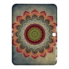 Folk Art Lotus Mandala Dirty Blue Red Samsung Galaxy Tab 4 (10.1 ) Hardshell Case
