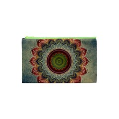Folk Art Lotus Mandala Dirty Blue Red Cosmetic Bag (xs)