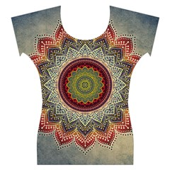 Folk Art Lotus Mandala Dirty Blue Red Women s Cap Sleeve Top
