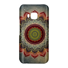 Folk Art Lotus Mandala Dirty Blue Red HTC One M9 Hardshell Case