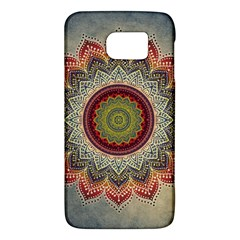 Folk Art Lotus Mandala Dirty Blue Red Galaxy S6