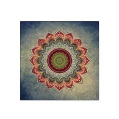 Folk Art Lotus Mandala Dirty Blue Red Satin Bandana Scarf