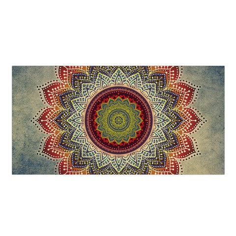 Folk Art Lotus Mandala Dirty Blue Red Satin Shawl