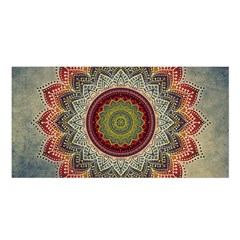 Folk Art Lotus Mandala Dirty Blue Red Satin Shawl