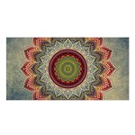 Folk Art Lotus Mandala Dirty Blue Red Satin Shawl Front