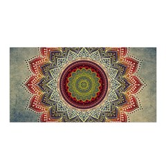 Folk Art Lotus Mandala Dirty Blue Red Satin Wrap