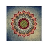 Folk Art Lotus Mandala Dirty Blue Red Small Satin Scarf (Square) Front