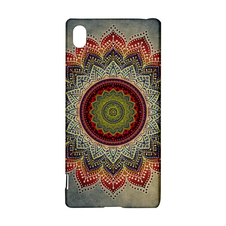 Folk Art Lotus Mandala Dirty Blue Red Sony Xperia Z3+