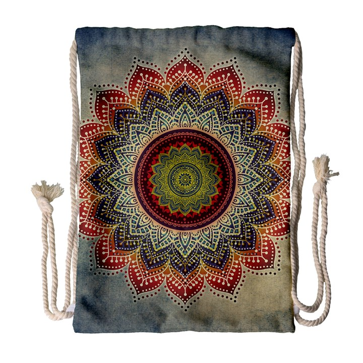 Folk Art Lotus Mandala Dirty Blue Red Drawstring Bag (Large)