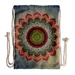 Folk Art Lotus Mandala Dirty Blue Red Drawstring Bag (Large) Back