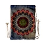Folk Art Lotus Mandala Dirty Blue Red Drawstring Bag (Small) Front