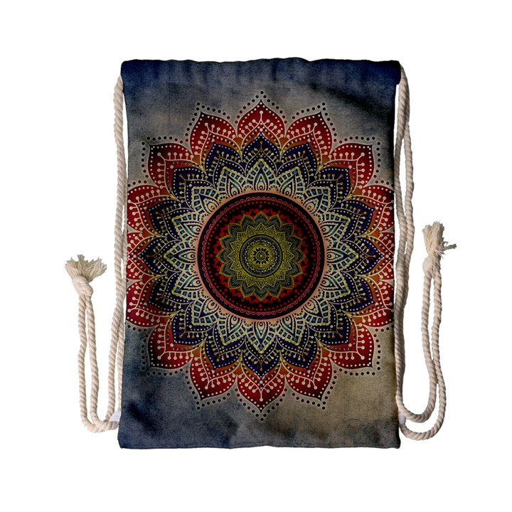 Folk Art Lotus Mandala Dirty Blue Red Drawstring Bag (Small)