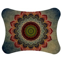 Folk Art Lotus Mandala Dirty Blue Red Jigsaw Puzzle Photo Stand (bow)
