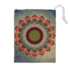 Folk Art Lotus Mandala Dirty Blue Red Drawstring Pouches (extra Large)
