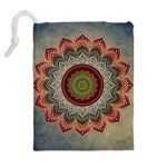 Folk Art Lotus Mandala Dirty Blue Red Drawstring Pouches (Extra Large) Back