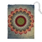 Folk Art Lotus Mandala Dirty Blue Red Drawstring Pouches (XXL) Front