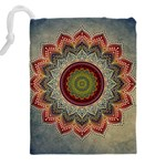 Folk Art Lotus Mandala Dirty Blue Red Drawstring Pouches (XXL) Back