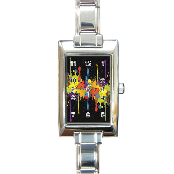 Crazy Multicolored Double Running Splashes Horizon Rectangle Italian Charm Watch