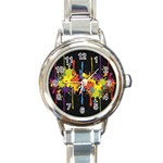 Crazy Multicolored Double Running Splashes Horizon Round Italian Charm Watch Front