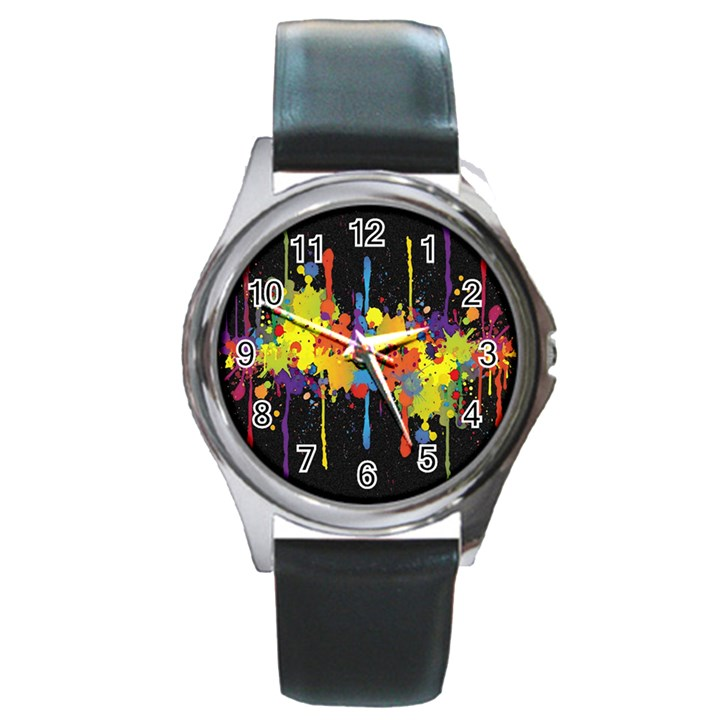 Crazy Multicolored Double Running Splashes Horizon Round Metal Watch