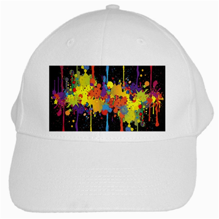 Crazy Multicolored Double Running Splashes Horizon White Cap