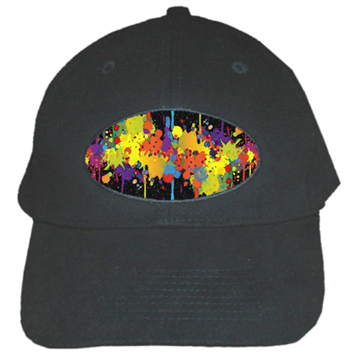 Crazy Multicolored Double Running Splashes Horizon Black Cap
