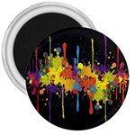 Crazy Multicolored Double Running Splashes Horizon 3  Magnets Front