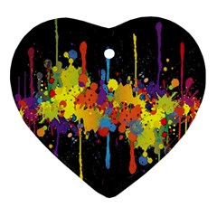 Crazy Multicolored Double Running Splashes Horizon Ornament (Heart)