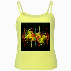 Crazy Multicolored Double Running Splashes Horizon Yellow Spaghetti Tank
