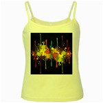 Crazy Multicolored Double Running Splashes Horizon Yellow Spaghetti Tank Front