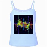 Crazy Multicolored Double Running Splashes Horizon Baby Blue Spaghetti Tank Front
