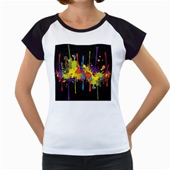 Crazy Multicolored Double Running Splashes Horizon Women s Cap Sleeve T
