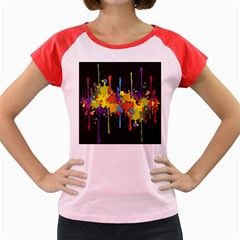 Crazy Multicolored Double Running Splashes Horizon Women s Cap Sleeve T Shirt