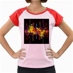 Crazy Multicolored Double Running Splashes Horizon Women s Cap Sleeve T-Shirt Front