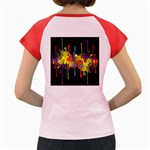 Crazy Multicolored Double Running Splashes Horizon Women s Cap Sleeve T-Shirt Back