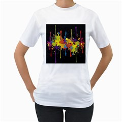 Crazy Multicolored Double Running Splashes Horizon Women s T-Shirt (White) (Two Sided)