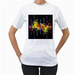 Crazy Multicolored Double Running Splashes Horizon Women s T-Shirt (White) (Two Sided) Front